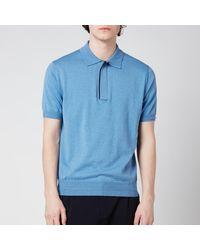 Canali Wool Silk Fine Gauge Half Zip Polo Shirt - Blue
