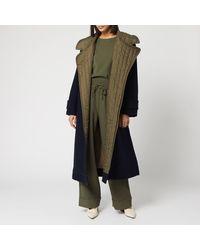 Ganni Tech/wool Trench Coat - Blue