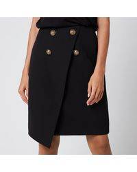 Balmain Asymmetric 4 Button Knee Length Skirt - Black