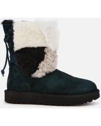 8a906fd6453 Classic Short Patchwork Fur Sheepskin Boots - Black