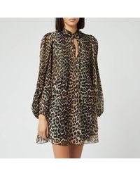 Ganni Georgette Leopard-print Woven Mini Dress - Multicolour