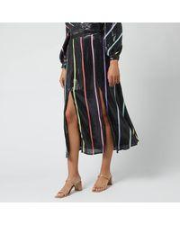Olivia Rubin Astrid Striped Sequin Midi Skirt - Black