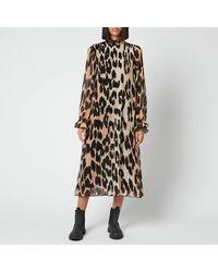 Ganni Pleated Georgette Midi Dress - Black