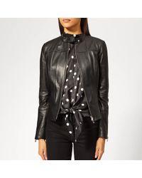 HUGO - Lonette Leather Jacket - Lyst