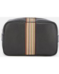 Paul Smith Artist Stripe Leather Washbag - Black