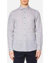 Michael Kors - Men's Slim Yarn Dye Linen Solid Long Sleeve Shirt - Lyst