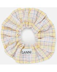 Ganni Seersucker Check Scrunchie - Multicolour