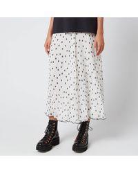 Ganni Pleated Polk Dot Georgette Skirt - White