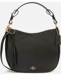 COACH Leather Sutton Hobo Bag - Black