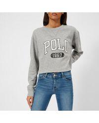 Polo Ralph Lauren - Women's Cropped Polo Logo Sweatshirt - Lyst