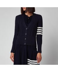 Thom Browne Cable Classic Fit V Neck Cardigan With Stripes - Blue