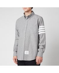 Thom Browne Printed Four-bar Sleeve Straight Fit Button Down Shirt - Grey