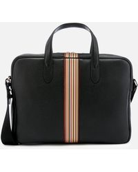 Paul Smith Signature Stripe Slim Leather Business Folio - Black