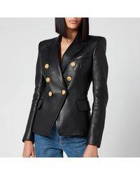 Balmain 6 Button Leather Jacket - Black