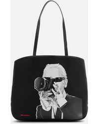 Karl Lagerfeld Legend Collection Karl Legend Photographer Canvas Tote Bag - Black