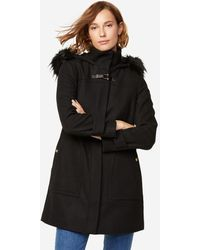 Cole Haan Wool Twill Hooded Duffle Coat - Black