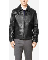 Cole Haan - Signature Smooth Lambskin Shirt Collar Jacket - Lyst