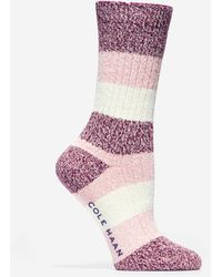 Cole Haan Plush Twist Crew Socks - Red