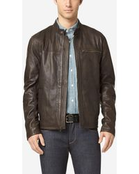 Cole Haan - Washed Leather Moto Jacket - Lyst