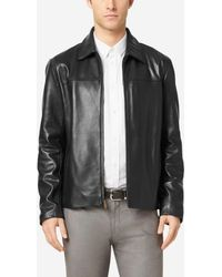 Cole Haan - Smooth Leather Shirt Collar Jacket - Lyst