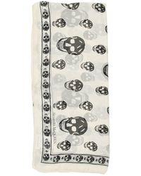 Alexander McQueen Skull Silk Scarf - White