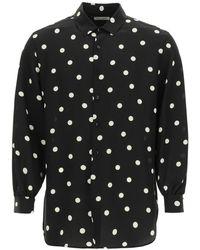Saint Laurent Polka Dot Silk Shirt - Black