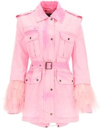 Mr & Mrs Italy Midi Parka With Feathers - Pink