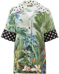 Dolce & Gabbana Jungle Tropical And Polka Dot Print Silk Shirt - Green