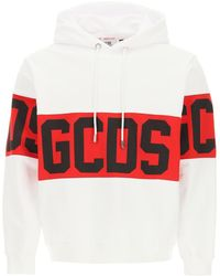 Gcds Hoodie With Logo Band L Cotton - Red