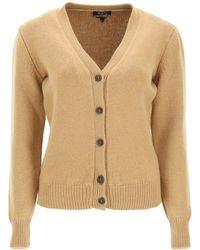A.P.C. V-neck Ama Cardigan Xs Wool - Natural