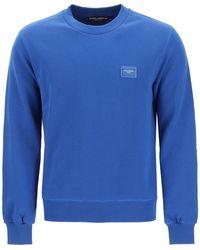 Dolce & Gabbana Dolce & Gabbana Sweatshirt With Logo Plaque - Blue