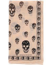 Alexander McQueen Silk Skull Scarf - Natural
