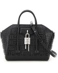 Givenchy Antigona Lock Mini Bag With Embossed Logo Os Leather - Black