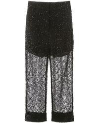 Self-Portrait Sequin Lace Trousers - Black
