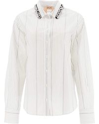 N°21 Pinstripe Shirt With Crystals - White