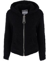 Moschino Boucle' Cardigan With Maxi Zip 38 - Black