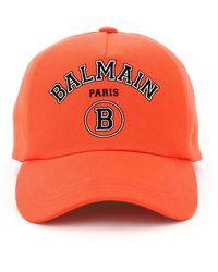 Balmain Logo Baseball Cap - Red