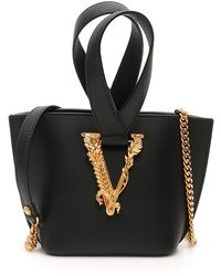 Versace Virtus Mini Bucket Bag Os Leather - Black