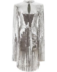 Balmain Sequined Dress With Fringes - Metallic