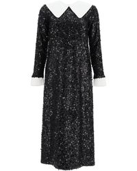 In the mood for love Sequined Midi Dress - Black