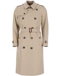 Burberry Kensington Long Trench Coat - Natural