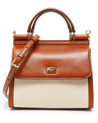 Dolce & Gabbana Sicily 58 Leather And Canvas Bag - Brown