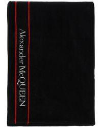Alexander McQueen Terry Beach Towel Selvedge Os Cotton - Black