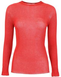 Philosophy Ribbed Crew-neck Top - Red