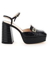 Fendi Promenade Heeled Slingback Loafers - Black