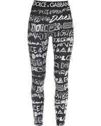 Dolce & Gabbana LEGGINGS GRAFFITI - Nero