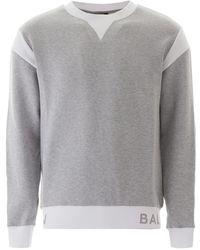 Balmain Two-tone Sweatshirt With Logo - Gray