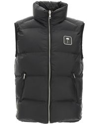 Palm Angels Puffer Vest With Palm Tree Logo S Technical - Black