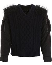 Prada Pullover With Nylon Sleeves - Black