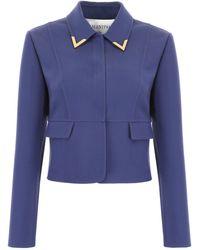 Valentino V Gold Blazer - Blue